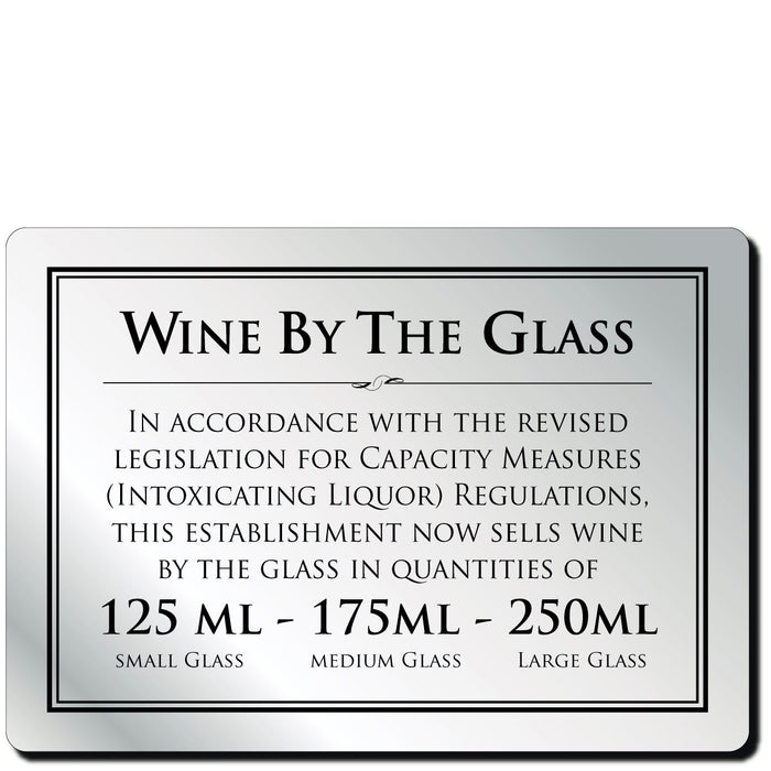 Bar Notice Wine By The Glass 175ml & 250ml
