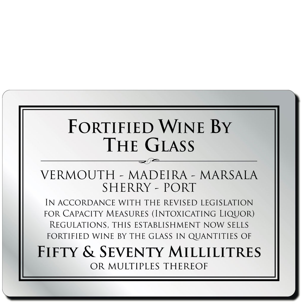 Wine By The Glass 50ml Bar Notice in Silver