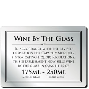 Wine By The Glass 175ml & 250ml Bar Notice in Silver