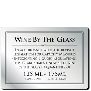 Wine By The Glass 125ml & 175ml Bar Notice in Silver