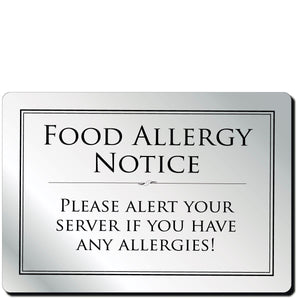 Food Allergy Notice in Silver