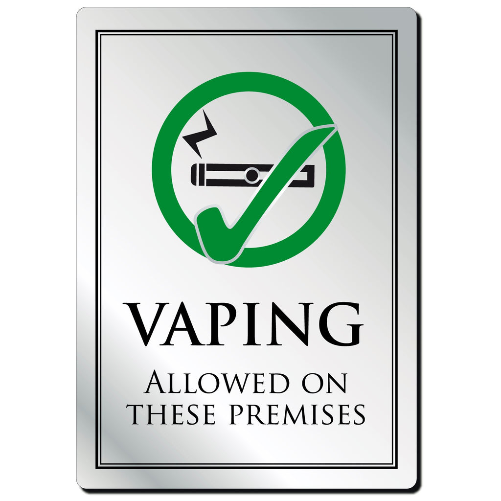 Vaping Allowed On These Premises Notice in Silver