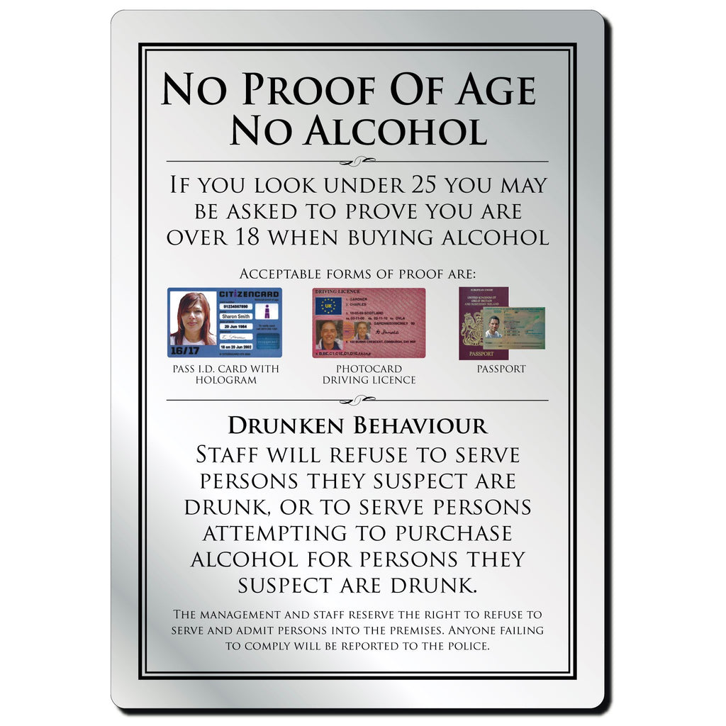 No Proof Of Age No Alcohol Bar Notice in Silver