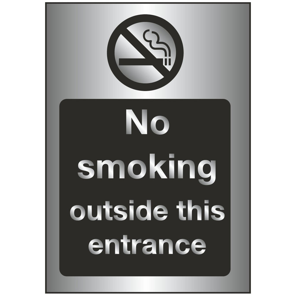 Sign - No Smoking Outside This Entrance Brushed Silver
