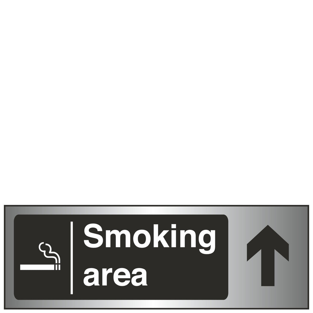 Sign Brushed Steel - Smoking Area Arrow Up