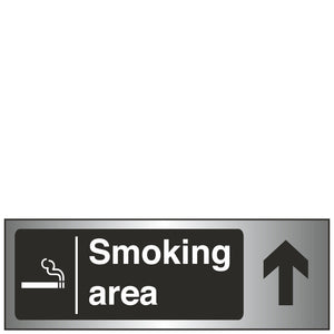 Sign - Smoking Area Arrow Up Brushed Silver
