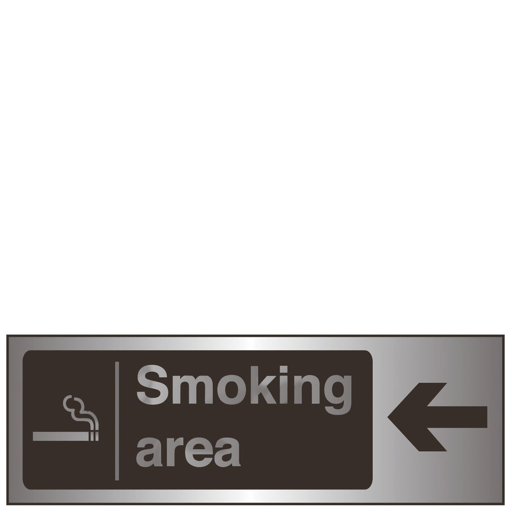 Sign Steel - Smoking Area Arrow Left Brushed Silver