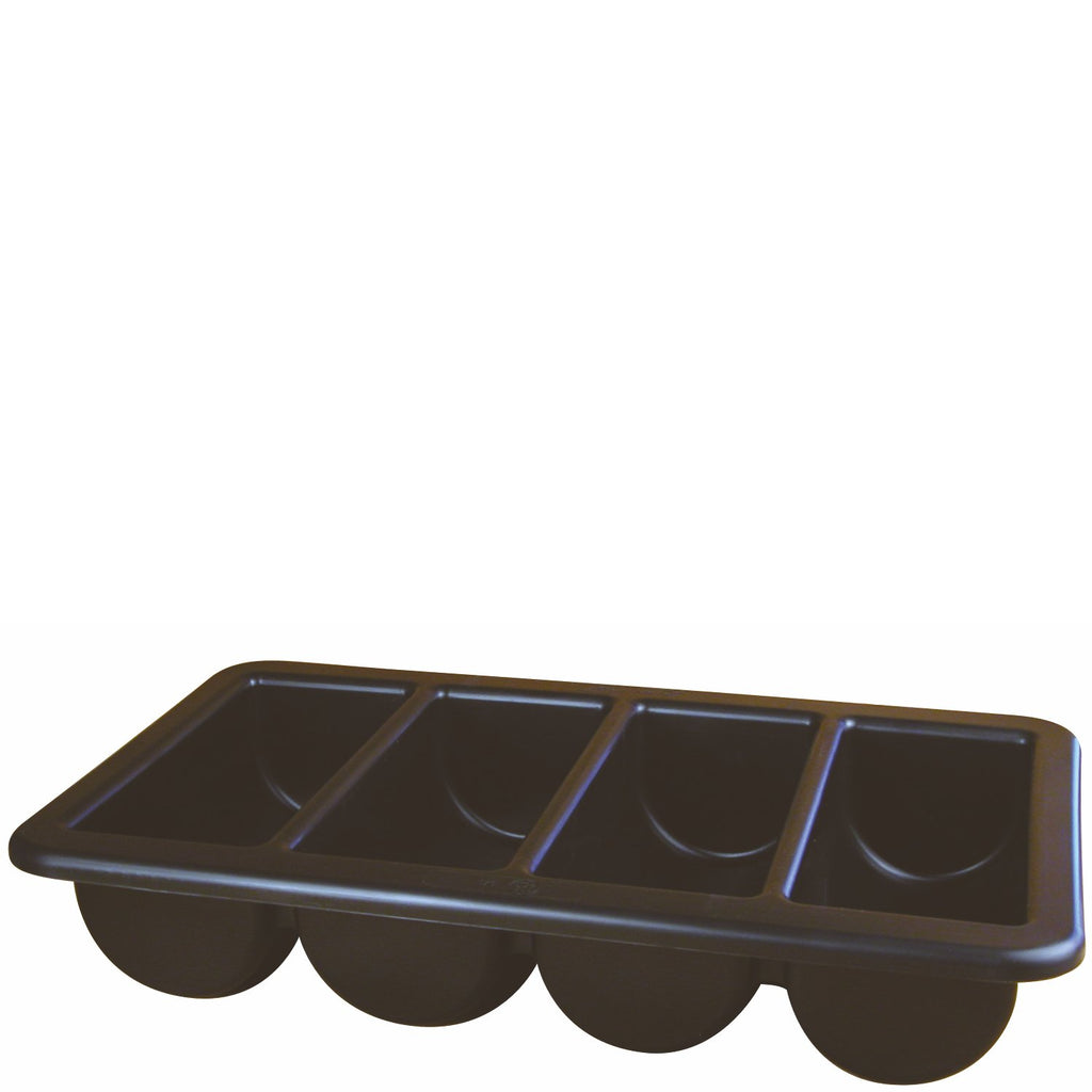 Black Cutlery Tray Four Compartment 1/1 Size