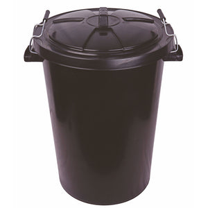Black Dustbin and Lid 80 litre