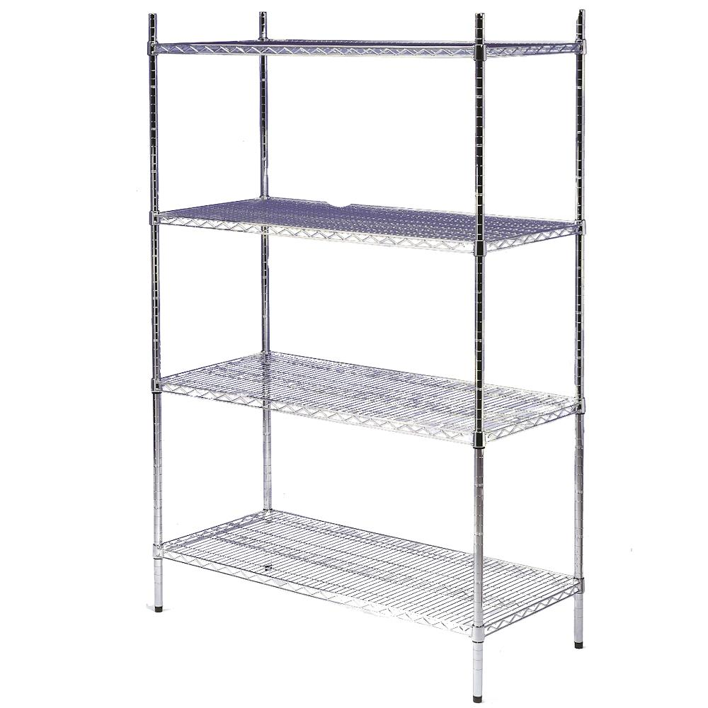 Chrome 4 Tier Wire Shelving Unit