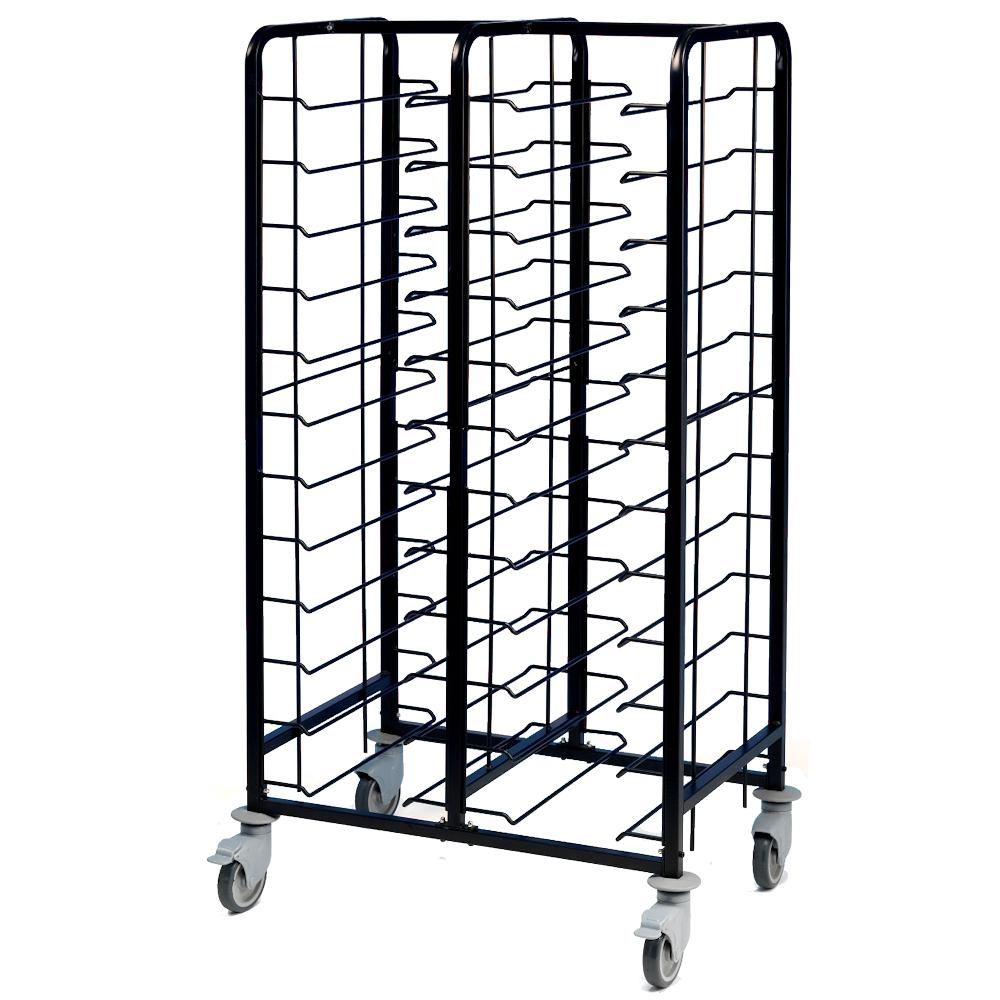 Tray Clearing Trolley 2x12 Tier Black