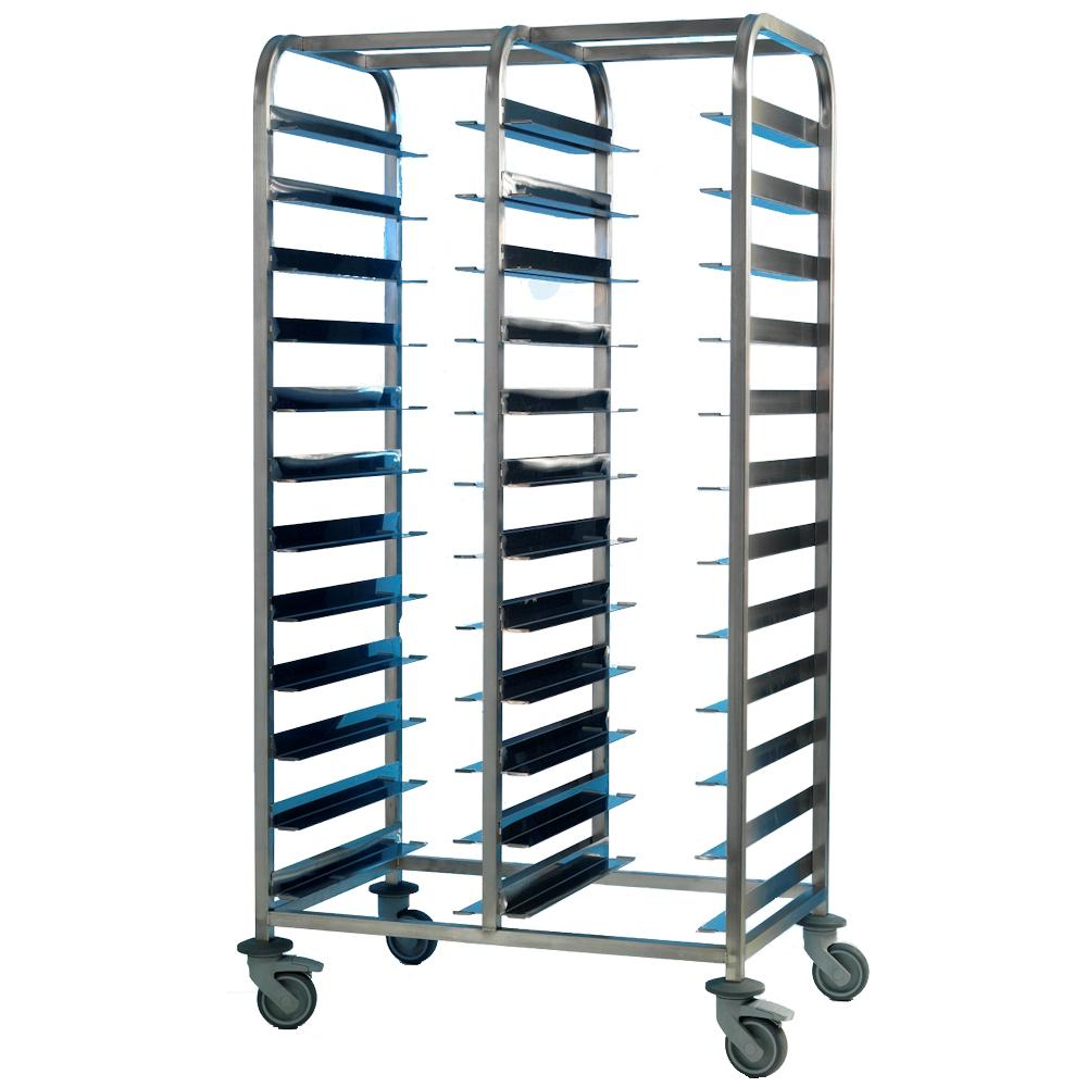 Tray Clearing Trolley 2x12 Tier Stainless Steel