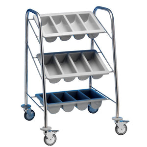 Cutlery Dispenser Trolley 3 Tier Stainless Steel
