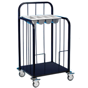 Tray and Cutlery Dispenser Trolley 3 Tier Black