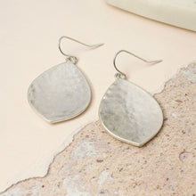 Load image into Gallery viewer, Silver Wide Leaf Shape Earrings with Hammered Finish