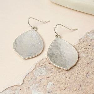 Silver Wide Leaf Shape Earrings with Hammered Finish
