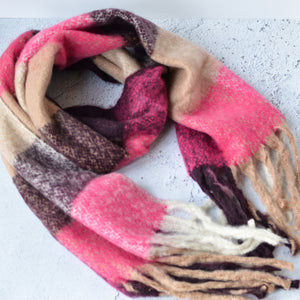 Adele Soft Pink & Burgundy Block Knit Scarf with Tassels