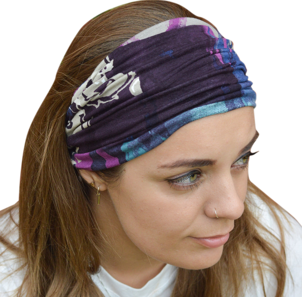 Genoa Wide Stretchy Abstract Design Headband Purple Jade Pink Headwrap