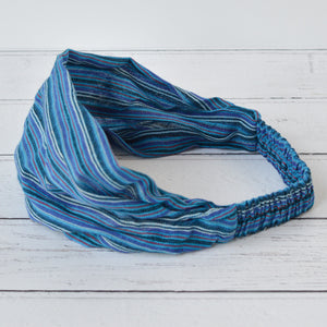 Ziggy Unisex Blue Striped Cotton Bandana