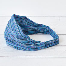 Load image into Gallery viewer, Ziggy Unisex Blue Striped Cotton Bandana