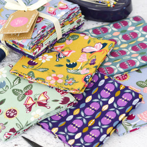 Butterfly Fat Quarter Cotton Fabric Bundle Vintage Ochre Purple Lilac Green