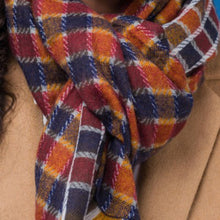 Load image into Gallery viewer, Farley Burnt Orange, Navy & Mustard Check Scarf with Tasseled Fringe
