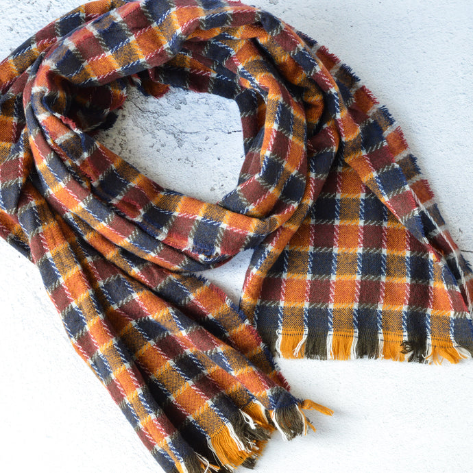Farley Burnt Orange, Navy & Mustard Check Scarf with Tasseled Fringe