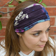 Load image into Gallery viewer, Genoa Wide Stretchy Abstract Design Headband Purple Jade Pink Headwrap