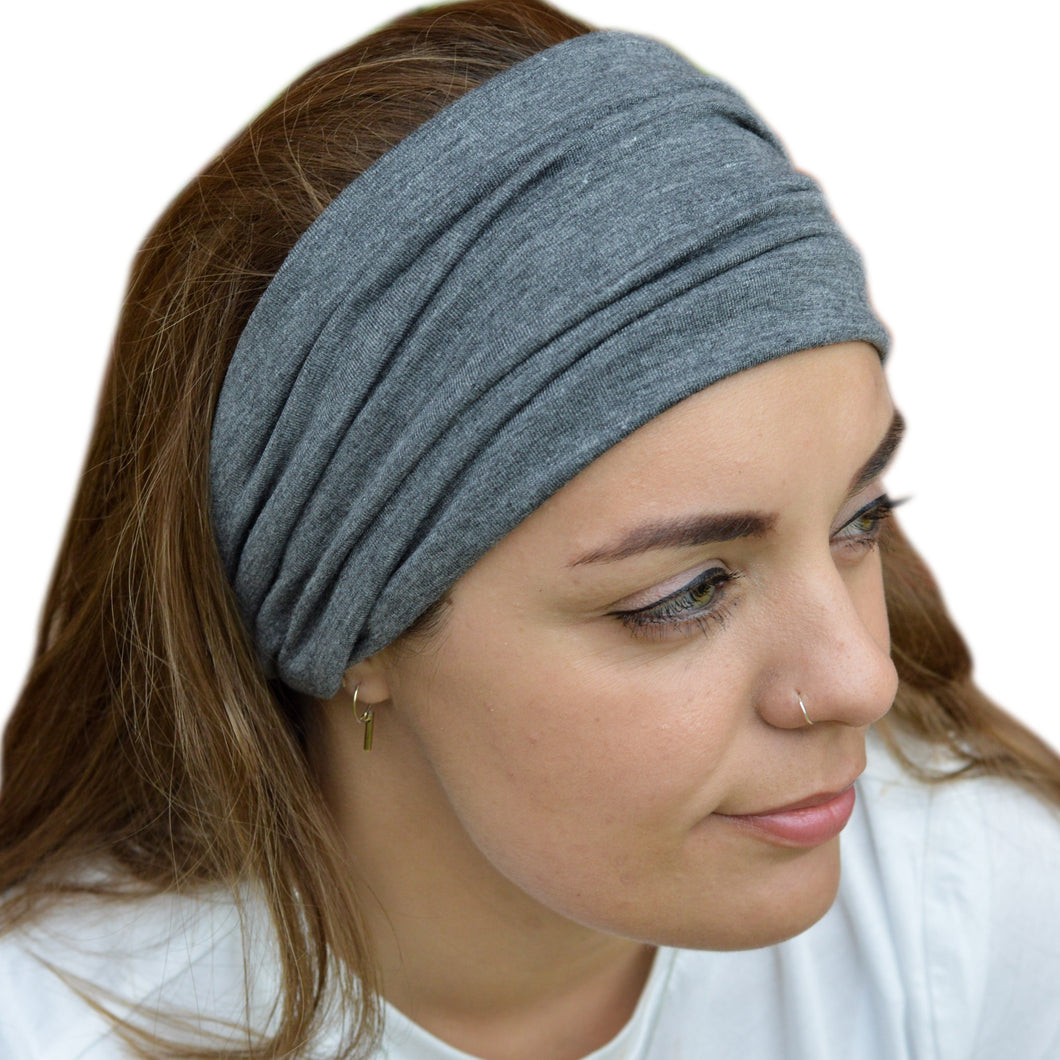 Verona Charcoal Grey Wide Stretchy Elasticated Back Headband Hair Band