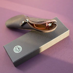 Mosi Genuine Saddle Leather Glasses & Pencil Case