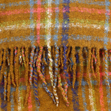 Load image into Gallery viewer, Saffron Soft Knit Mustard & Pastel Check Scarf with Tassels