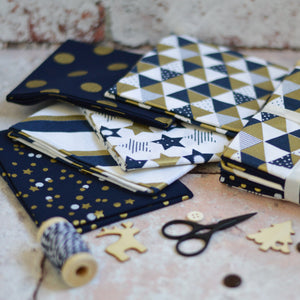 Geometric Gold & Navy Metallic Fat Quarter Cotton Fabric Bundle