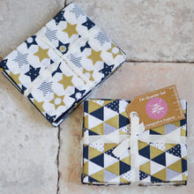Load image into Gallery viewer, Geometric Gold & Navy Metallic Fat Quarter Cotton Fabric Bundle