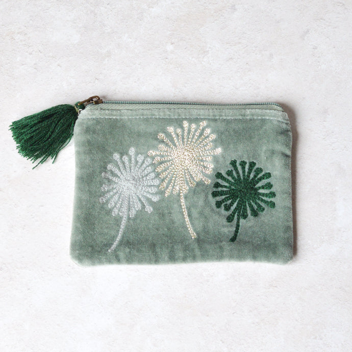 Sage Green Velvet Purse with Dandelion Embroidery and Tassel