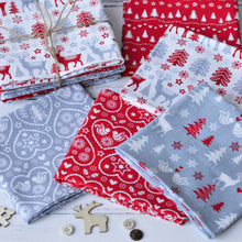 Load image into Gallery viewer, Scandi Christmas Fat Quarters Fabric Bundle Red Silver White