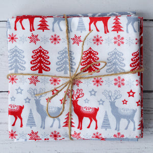 Scandi Christmas Fat Quarters Fabric Bundle Red Silver White