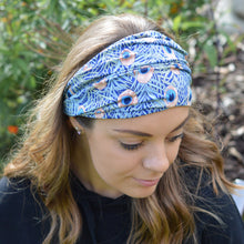 Load image into Gallery viewer, Vienna Blue Peacock Feather Print Wide Stretchy Headband