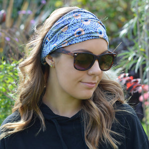 Vienna Blue Peacock Feather Print Wide Stretchy Headband