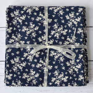 Vintage Style Large Floral Fat Quarter Cotton Fabric Navy White