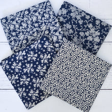 Load image into Gallery viewer, Vintage Style Large Floral Fat Quarter Cotton Fabric Navy White
