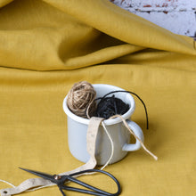 Load image into Gallery viewer, Pre-Washed European Linen Fabric Ochre Mustard Flax