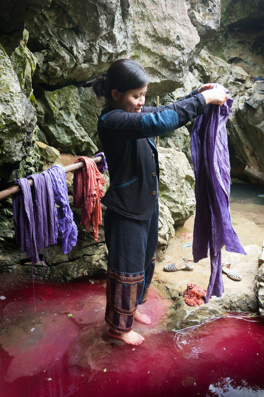 my friend Thao hand dying the fibers for new fabrics