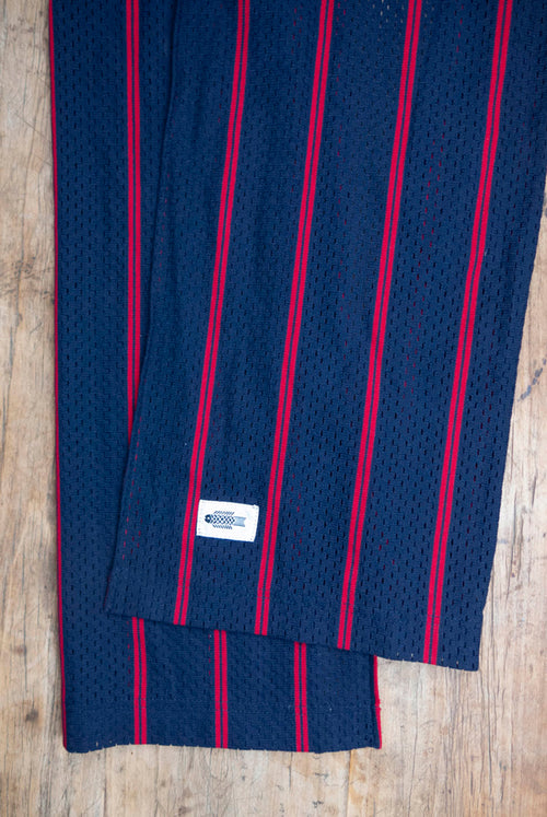 Navy red Sporty striped cotton mesh
