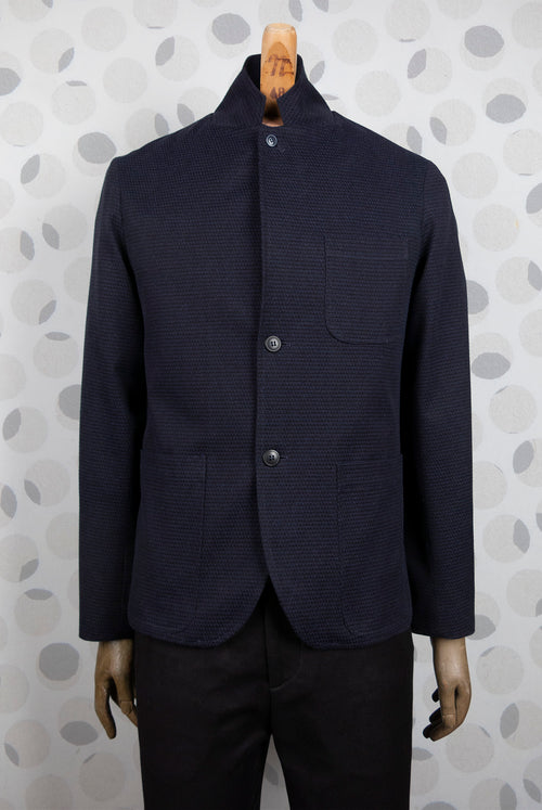 addeertz navy and balck cotton  blazer