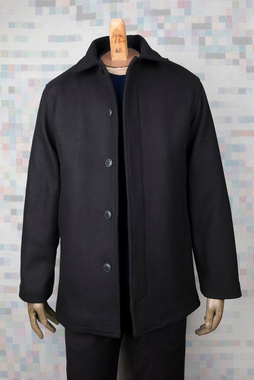 addeertz marine coat style wool balck twill