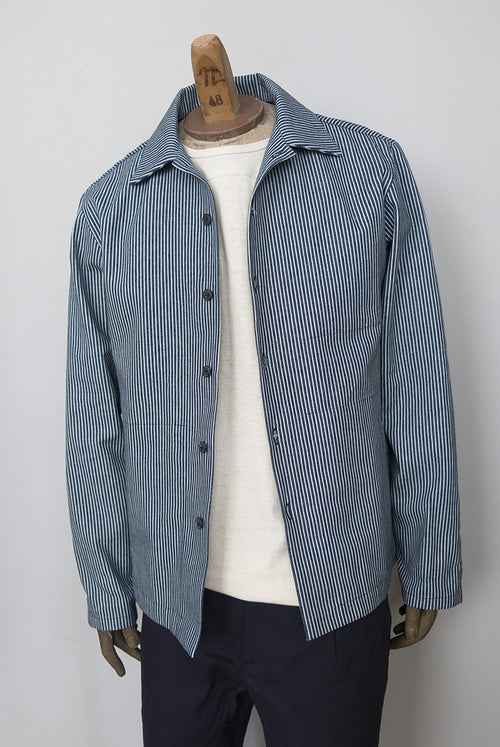 coach jacket in striped denim blue and white