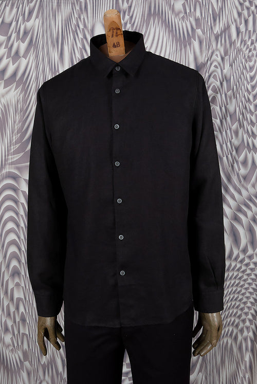 addeertz straight shirt black linen