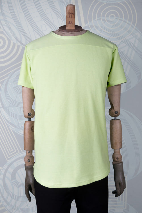 cotton pique tshirt in a yellow green fluroescent color