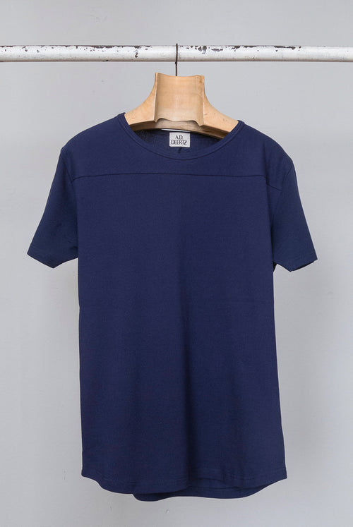 addeertz navy cotton pique tshirt no sholder seams