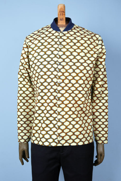 shirt with rib collar made in wax print with red rope pattern